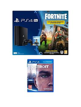 playstation-4-pro-ps4-pro-black-console-with-fortnite-royal-bomber-skin-and-500-v-bucks-with-detroit-become-human-and-black-dualshock-controller