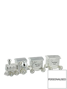 personalised-silver-plated-first-tooth-amp-curl-set-train-with-2-carriages-in-a-silver-gift-box