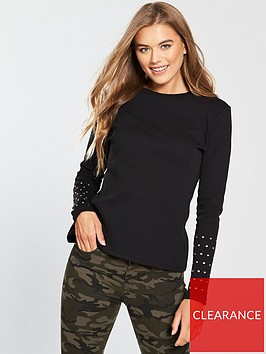 v-by-very-embellished-sleeve-rib-top-black