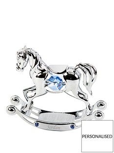 crystocraft-personalised-crystocraft-chrome-plated-rocking-horse-with-crystals-blue-pink