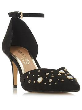 Head Over Heels Two Part Embellished Court Shoe - Black
