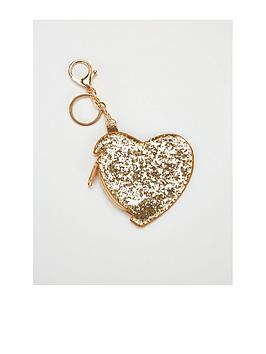 Mini V By Very Girls Gold Glitter Keyring Purse