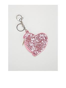 Mini V By Very Girls Pink Glitter Keyring Purse