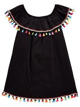 v-by-very-girls-black-bardot-tassel-dress