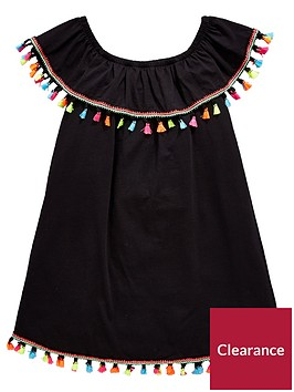 v-by-very-girls-black-bardot-tassel-dress