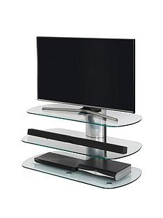 Off The Wall Skyline 100 cm TV Stand - Silver/Clear Glass - fits up to 46 inch TV