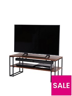 Off The Wall Cube 110 cm Open TV Stand/Coffee Table - Metal/Walnut-Effect - fits up to 50 inch TV