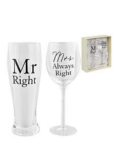 amore-wine-amp-pint-glass-set-mr-right-mrs-always-right