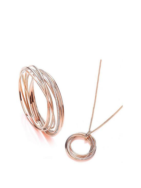 693524fb966ff Rose Gold Plated Cubic Zirconia Elegance Russian Twist Bangle & Necklace  Set with FREE Gift Bag