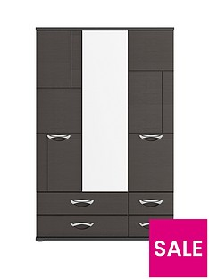Consort Eva 3 Door, 4 Drawer Gloss Mirrored Wardrobe