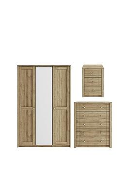 Consort Bronte 3 Piece Package &Ndash; 3 Door Mirrored Wardrobe, 5 Drawer Chest And 3 Drawer Bedside Chest thumbnail