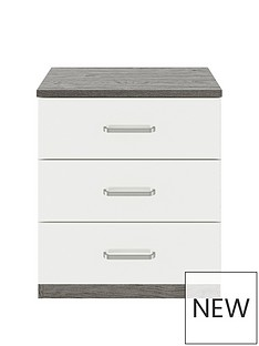 Consort Stella Ready Assembled Gloss Front Wide 3 Drawer Chest