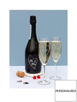 personalised-valentines-gold-heart-prosecconbspamp-2-glasses-in-a-hamper-giftbox