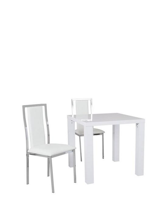 atlantic 80 x 80 cm square gloss dining table 2 atlantic chairs rh very co uk