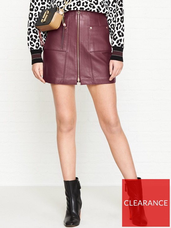 474506153a ALICE MCCALL Make Me Yours Leather Mini Skirt - Burgundy | very.co.uk