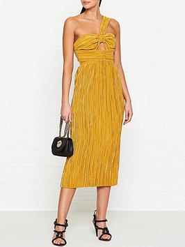 alice-mccall-power-lady-pleated-cut-out-dress-yellow
