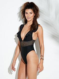 river-island-river-island-frill-crochet-insert-swimsuit-black