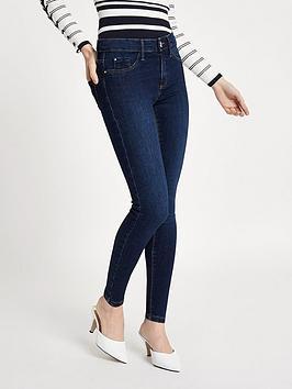 Ri Petite Molly Skinny Jeans - Dark Blue