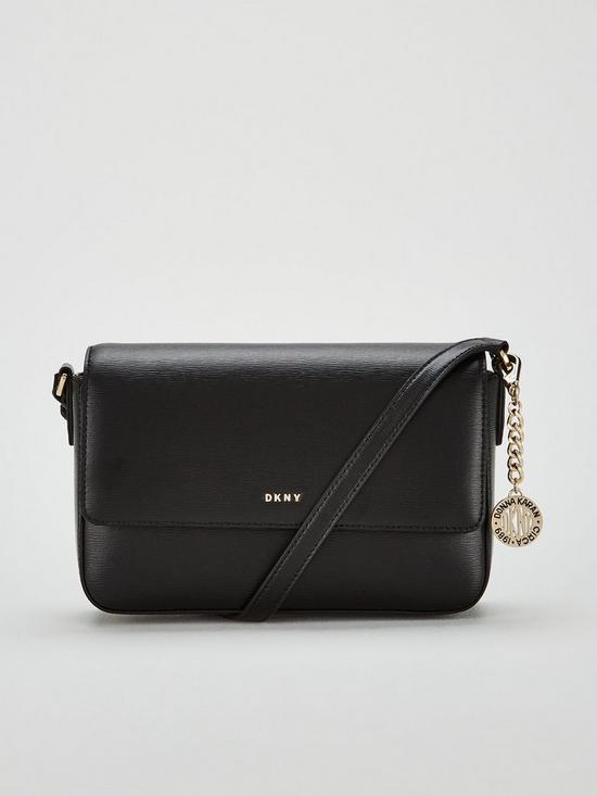 e4edb28b0 DKNY Bryant Sutton Medium Flap Crossbody Bag - Black/Gold | very.co.uk