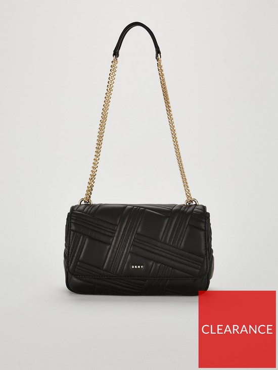 DKNY Allen Large Flap Chain Shoulder Bag - Black  826a26b874de2