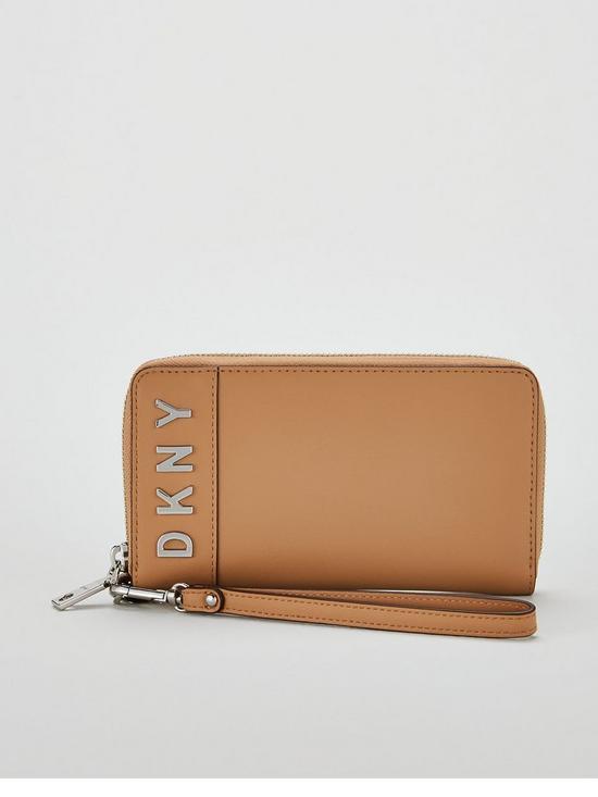 1c52a6e34729ab DKNY Bedford Wristlet Zipper Logo Pouch Purse - Brown | very.co.uk