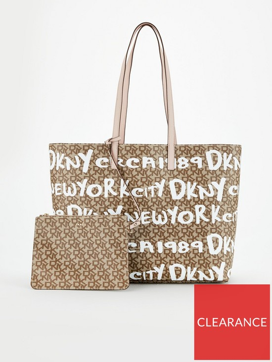 a6f91092cffa64 DKNY Chino Iconic Logo Tote Bag - Print/Blush | very.co.uk