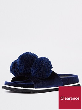 river-island-oversized-pom-slider-navy