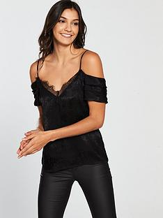 v-by-very-lace-cold-shoulder-jacquard-cami-black