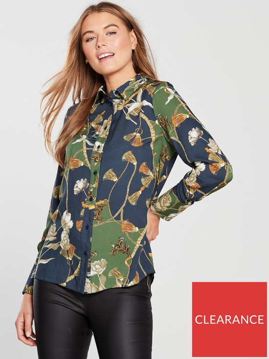 5208af01232a77 V by Very Chain Print Button Through Shirt