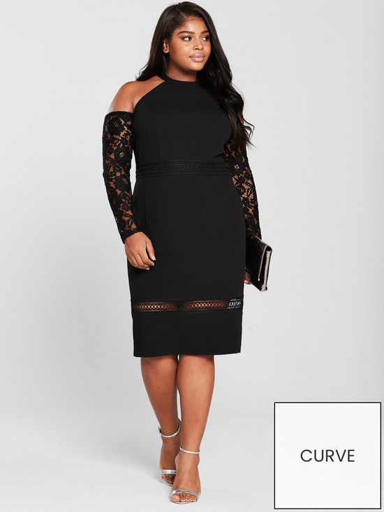 2413c42161c V by Very Curve Lace Trim Cold Shoulder Bodycon Midi Dress - Black ...