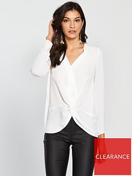 v-by-very-knot-front-blouse-ivory