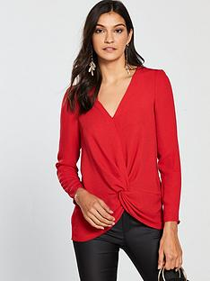 v-by-very-knot-front-blouse-red