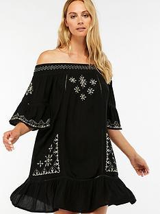 0fe70d2eba84b Accessorize Danielle Embroidered Off Shoulder Beach Dress - Black