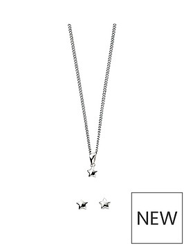 the-love-silver-collection-sterling-silver-little-star-children039s-necklace-amp-earrings-set