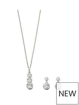 the-love-silver-collection-sterling-silver-amp-cubic-zirconia-drop-pendant-necklace-amp-earrings-set