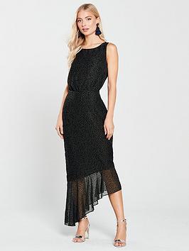 Phase Eight Dotty Burnout Asymmetric Dress - Black