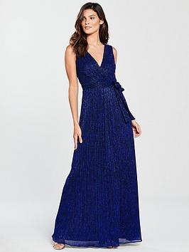Phase Eight Noelle Pleated Lurex Wrap Maxi Dress - Cobalt