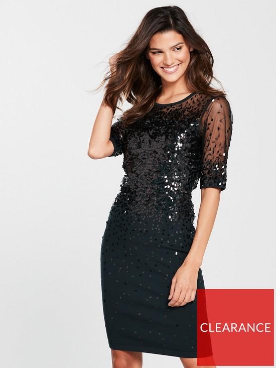 Orlena Oval Sequin Dress Black