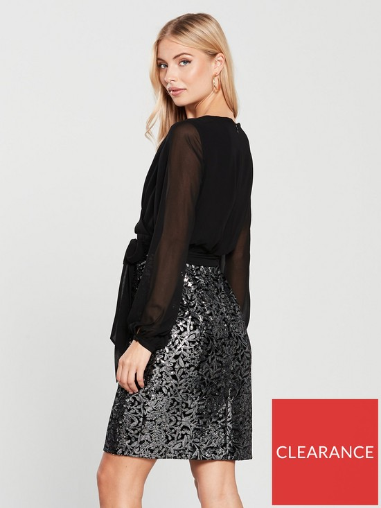 76a7fa84 Phase Eight Janessa Sequin Skirt Dress - Black/Silver | very.co.uk