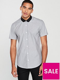 v-by-very-short-sleeve-penny-round-collar-shirt--nbspgrey