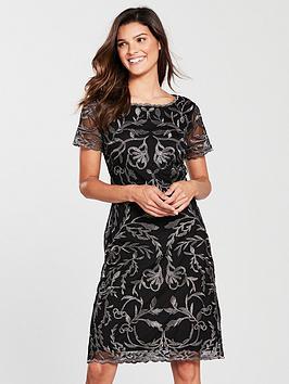 Phase Eight Alannah Embroidered Mesh Dress - Black/Gunmetal