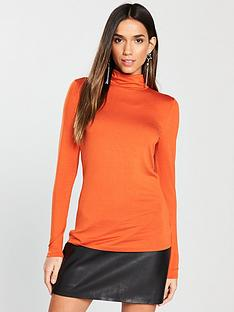 v-by-very-roll-neck-top-orange