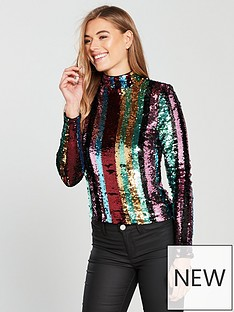 v-by-very-roll-neck-stripe-sequin-top-rainbownbsp