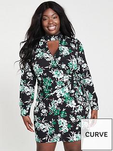 v-by-very-curve-choker-neck-wrap-dress-printed