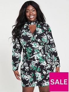 6c18141b01 V by Very Curve Choker Neck Wrap Dress - Printed
