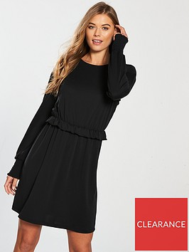 v-by-very-ruched-cuff-jersey-dress-black
