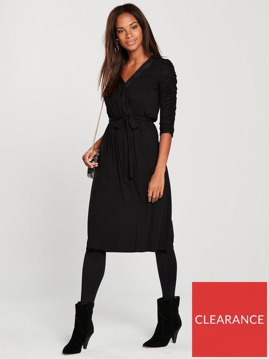 a4d222f0c85c V by Very Lace Trim Jersey Midi Dress - Black