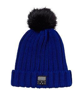 river-island-boys-blue-faux-fur-bobble-beanie-hat