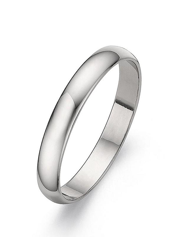 Love Gold Platinum D Shaped Wedding Band 3 Mm Very Co Uk