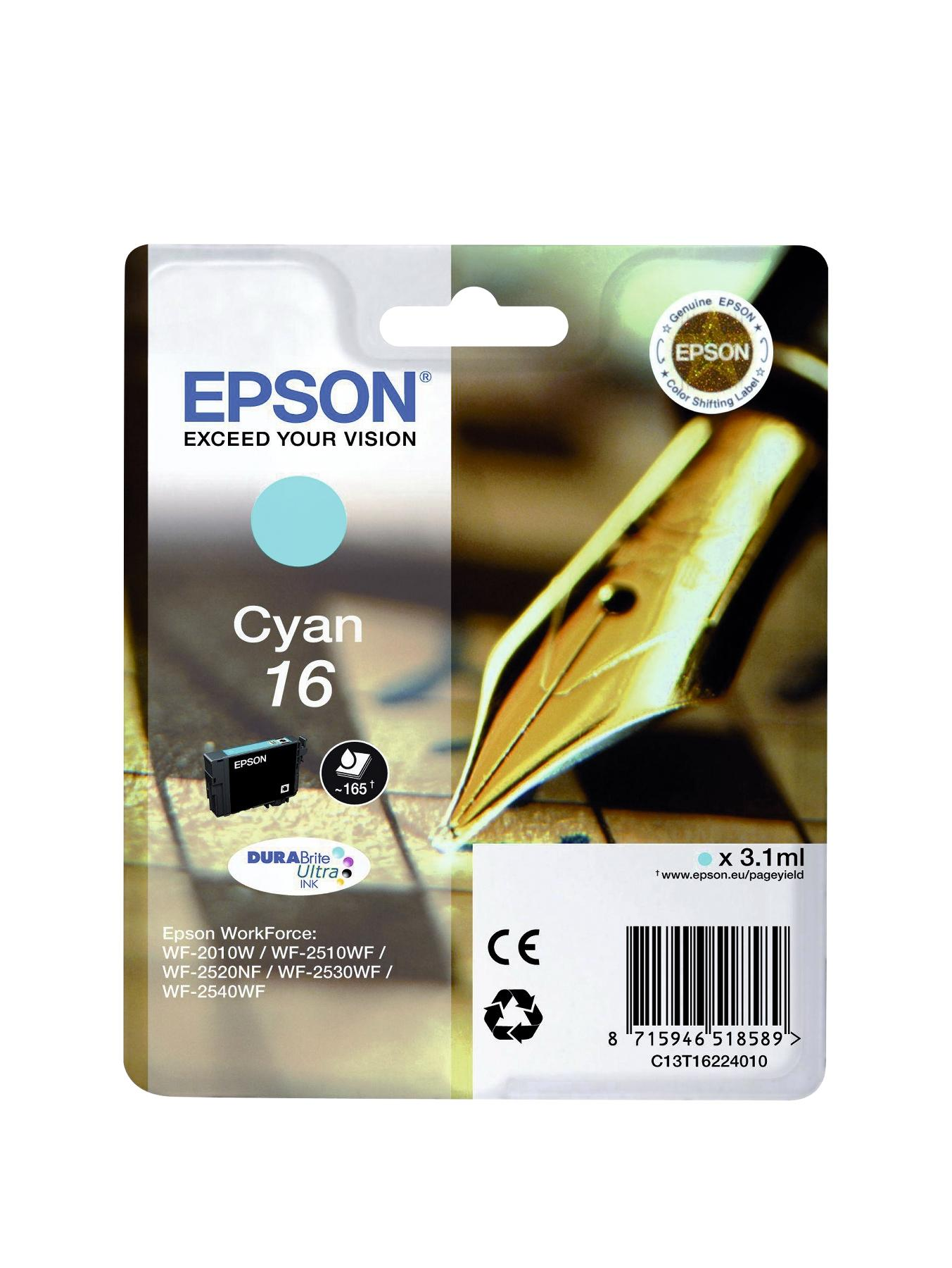 Epson Singlepack Cyan 16 DURABrite Ultra Ink
